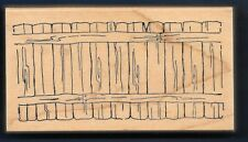 FENCE POST YARD SCENE Natural Wood P-1499 large ART IMPRESSIONS RUBBER STAMP