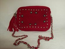 R J Romeo & Juliette Red Quitled Crossbody Handbag w/Silver HW & Beads