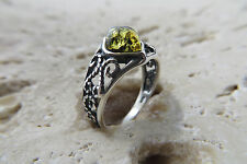 Size 6, Size L 1/2, Size 52, Green BALTIC AMBER Ring, 925 STERLING SILVER #1025