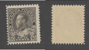 MNH Canada 50c Black Brown KGV Admiral - Dry Printing #120 (Lot #20138)