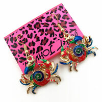 Women's Colorful Enamel Lovely Crab Eardrop Betsey Johnson Dangle Earrings Gift