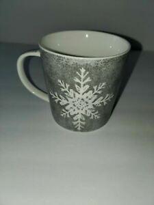 Silver Stoneware Snowflake Coffee Beverage Mug by PPD