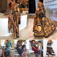 Women Deep V African Dashiki Hippie Kaftan Dress Casual Maxi Wrap Dress Cocktail