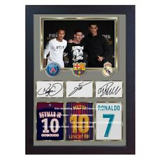 New Neymar Messi Cristiano Ronaldo signed autograph print photo picture Framed