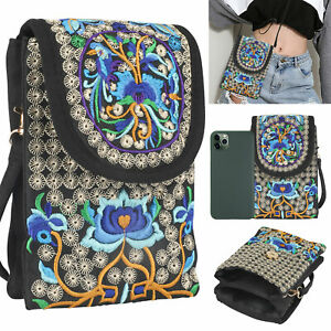 Women Vintage Crossbody Cell Phone Case Purse Pouch Handbag Wallet Shoulder Bag
