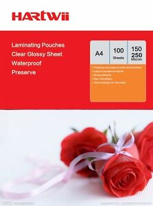 Hartwii A4 100-1000 Glossy Clear Laminating Pouches Film 150  / 250 Micron