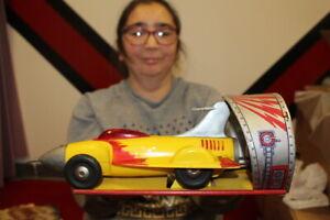Vintage Ideal Jet Car Wind Up Friction Metal Toy Sign WORKS