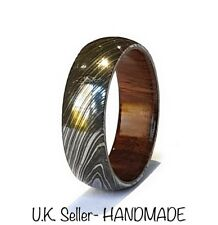 Damascus Steel HANDMADE Ring with Wooden Inlay/ Liner - ALL SIZES AVAILABLE -