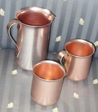 Vintage Set Of Three, Aluminum Collectible Pitchers, Cup - Color Craft