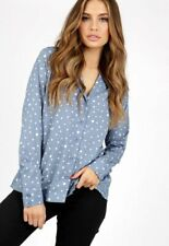 Womens Ladies Irregular Spot Front Button Pyjama Shirt