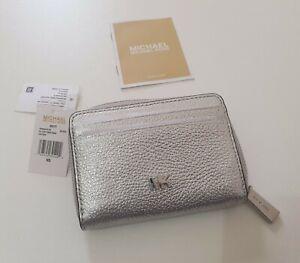 Michael Kors ZA Mott Coin Card Silver Leather Pebbled Zipped Purse Case