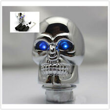 Car Manual Gear Shift Knob Stick Handle Alloy 3D Skull Head Blue Eye LED Light