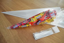 50 Clear Cellophane Cone Bags Medium 16x30cm Kids Party Plastic Cello Sweet Bag