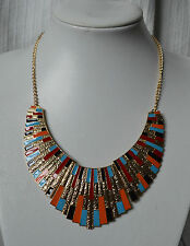 Egyptian Design Statement Necklace metal blue red black orange gold chunky bib