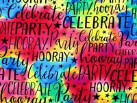 FAT QUARTER  PARTY CELEBRATE COTTON FABRIC RAINBOW WORDS TIMELESS TREASURES   FQ