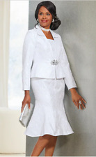 Ashro White Formal Wedding Party Church Tyra Faux Jacket Dress 12 20W 22W 24W