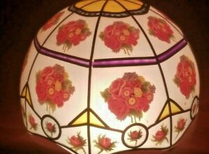 """Tiffany Style Stained Glass Plastic Lamp Shade WITH Flowers & Roses 11"""" dia RARE"""