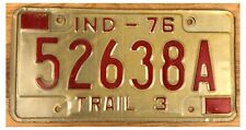 Indiana 1976 LIGHT TRAILER License Plate 52638A!