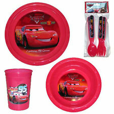 7pc Dining Feeding Set Plate Bowl Cup Spoon Fork Cars McQueen NEW