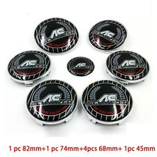 7pcs Colorful AC SCHNITZER Car Badge Front Hood Emblem Rear Emblem Wheel Hub Cap