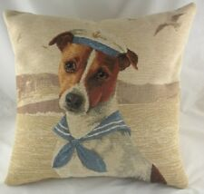 "18"" SEA DOGS ""SAILOR"" Jack Russell Dog Belgian Tapestry Cushion Evans Lichfield"