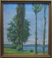 ::RENE BILLA *1884 SOMMERABEND  °PAPPELN IM WIND° ÖLGEMÄLDE JUGENDSTIL ART DECO