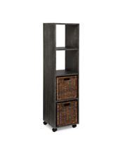 Creden-ZzZ Rolling Bookcase Tower with Baskets, Charcoal