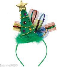 Moda Mujer Fiesta Mini árbol de Navidad Estrella Disfraz Sombrero Tocado Diadema