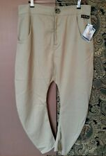 Emily Sharp mens drop crotch trousers, sand beige tan. Small or X Small