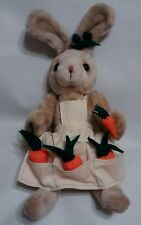 """Vintage Easter Bunny Rabbit Stuffed Plush W/ Garden Apron & Carrots Jointed 16"""""""