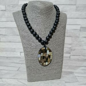 STATEMENT Beaded Necklace Black Wood Beads Oval Mosaic Mother of Pearl Pendant