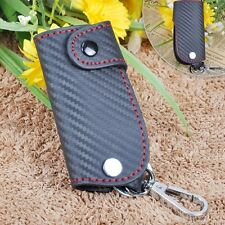 Universal Carbon Fiber Leather car  Key Case chain keyless  Pouch Red Stitching