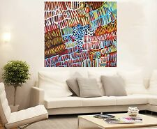 Aboriginal Art huge canvas abstract jane crawford grubs  COA authentic painting