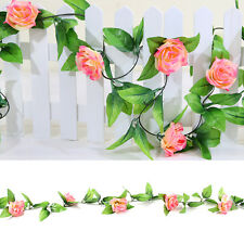 2x8ft Artificial Silk Rose Flower Ivy Vine Leaf Garland Wedding Party Garlands Sunset