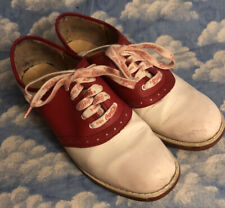 Vintage Women'S Red & White Saddle Shoes Size 10B