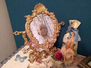 VINTAGE DECORATIVE DRESSING TABLE VANITY SWING GOLD BRASS MIRROR ~ SWEET CHERUBS