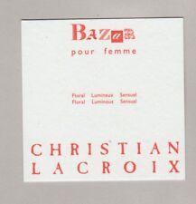 Carte à parfumer -  Perfume card  -  Bazar Christian Lacroix recto verso