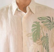 Centro Hawaiian Aloha Camp Shirt Leaf Pattern Ramie Rayon Blend Mens XL nice