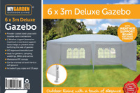 6x3M Deluxe Metal Pavilion Gazebo Awning Canopy Sun Shade Party Tent