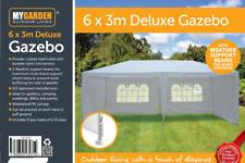 6x3M Deluxe Métal Pavillon Gazebo Auvent Auvent Soleil Shade Tente de fête