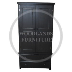 HANDMADE SHAKER 2 DRAWER WARDROBE IN BLACK, MANY COLOURS AVAILABLE (ASSEMBLED)