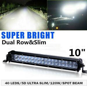 10''inch 120W Slim LED Light Bar Dual Row Spot Beam Offroad Boat SUV Truck ATV