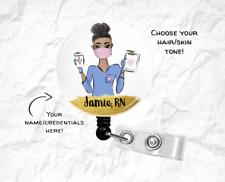 Personalized Nurse healthcare badge reel, ID holder, Retractable clip