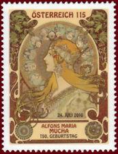 ALPHONSE MUCHA 150TH BIRTHDAY AUSTRIA 2010 SUPERB MNH