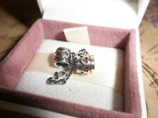 Genuine Pandora Silver & 14ct Gold Heart Safety Chain Charm 790307 6cm  RRP £100