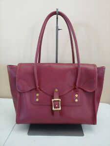 J.W. Hulme Daly Satchel Red Wine Full Grain Leather Bag Turnlock