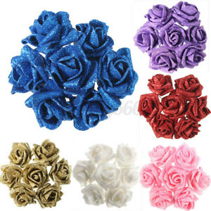 10/20x Glitter Artificial Roses Flower Bouquet Home Bridal Wedding Decor Foam UK