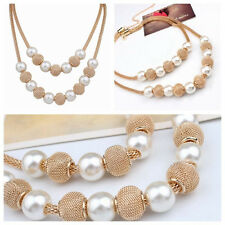 Fashion Pearl Multilayer Long Necklace Sweater Chain Statement Women Chunky