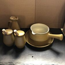 More details for collection of denby ode pottery tableware, sauce boat, mustard pots, vinegar jug