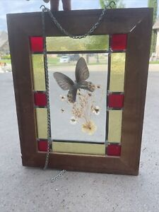 Vintage Stained Leaded Glass In Old Wood Frame - Chain For Hanging - 16 X 20